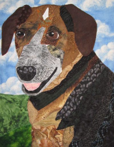 Fabric pet portrait of a brown dog and sky