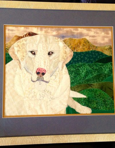 memorial fabric pet portrait of white dog in a frame
