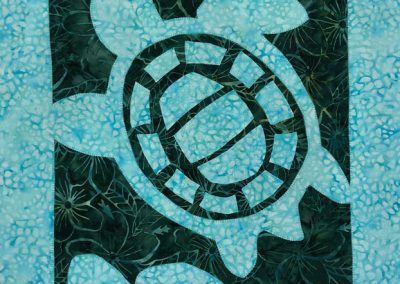 fabric picture of a blue turtle