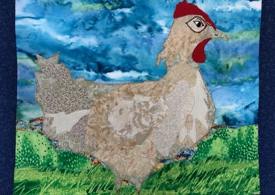 Chicken with stormy sky