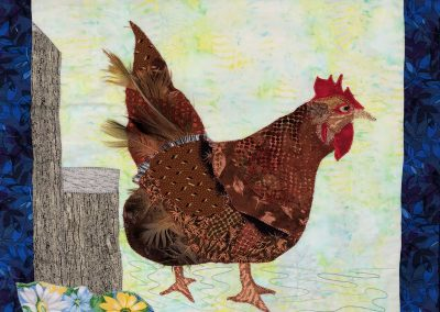 Fabric picture of brown chicken