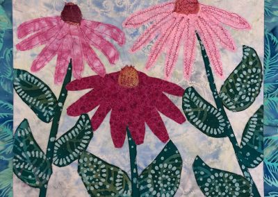 fabric picture of painted Daisies