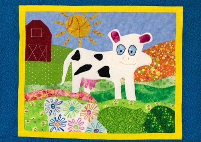 fabric picture of a cartoon cow