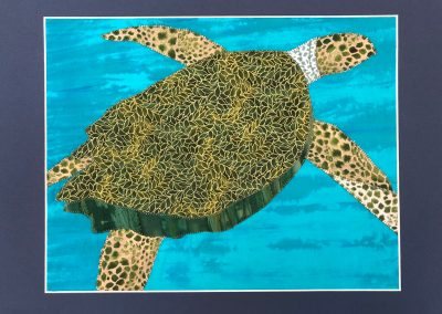 fabric picture of green turtle