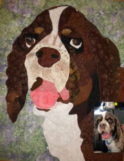 pet portrait and photo of brown dog on wall hanging