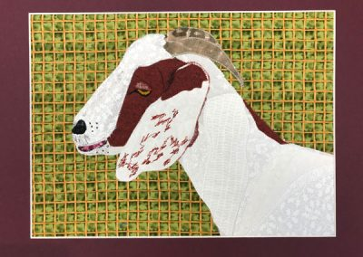 fabric portrait of a goat
