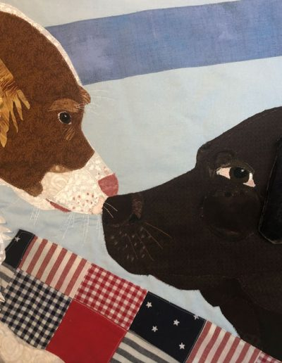 Custom dog portraits, two dogs looking at each other, fabric wallhanging