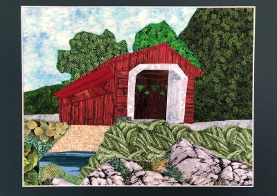 Silk Bridge framed quilted fabric wallhanging