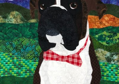 Brown and white custom dog fabric portrait