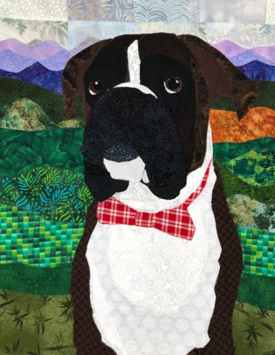 Brown and white custom boxer dog fabric portrait