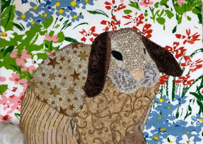Fabric bunny wallhanging