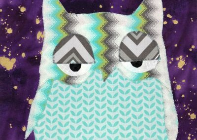 Silly owl fabric wallhanging