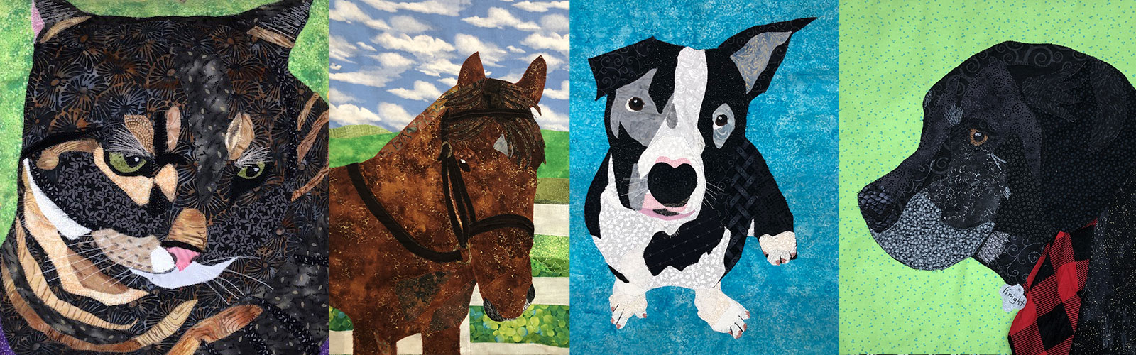 custom pet portraits of a cat, horse, and two dogs