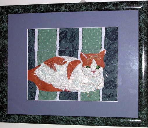 Niles the cat as fabric pet portrait