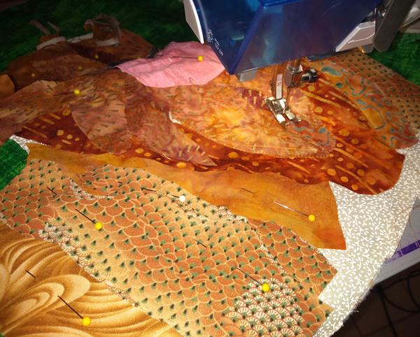 in progress sewing of custom dog pillow