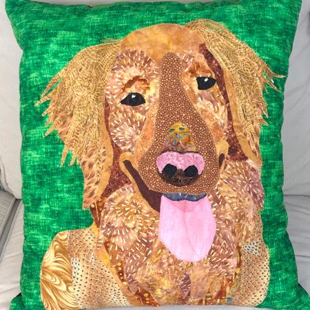 pet dog portrait green pillow