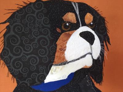 fabric dog pet custom portrait orange background