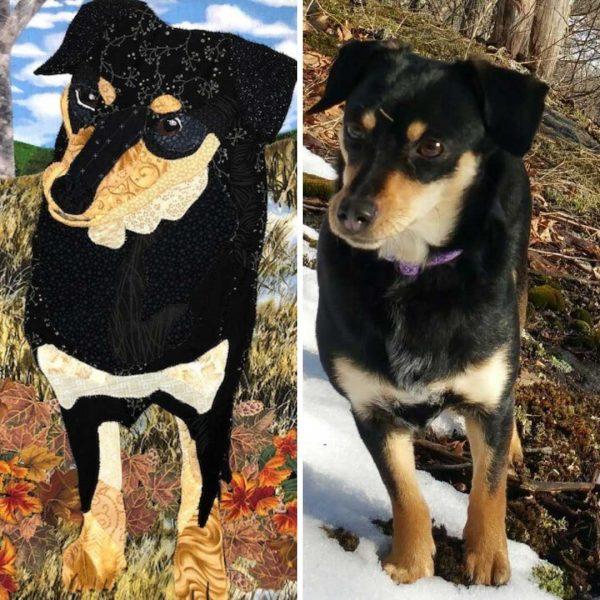 Custom dog fabric portrait