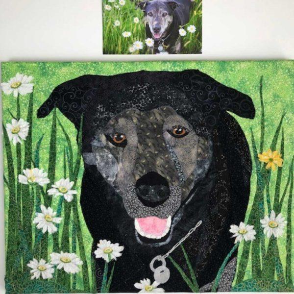 custom dog fabric portrait of black dog