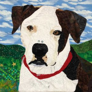 custom dog fabric pet portrait of white and brown dog