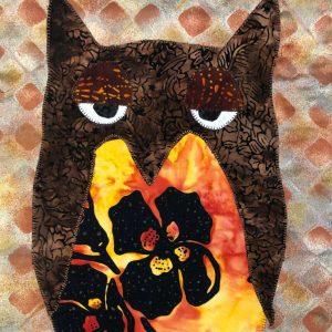 Sleepy flower owl with orange Hawaiian print wall hanging