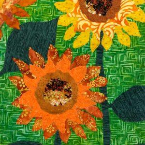 Sunflowers fabric wall hanging art