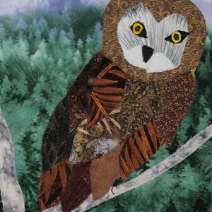 brown owl fabric matted picture
